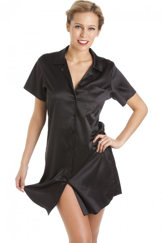Camille Luxurious Knee Length Black Satin Nightshirt