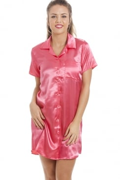 Luxurious Knee Length Coral Pink Satin Nightshirt