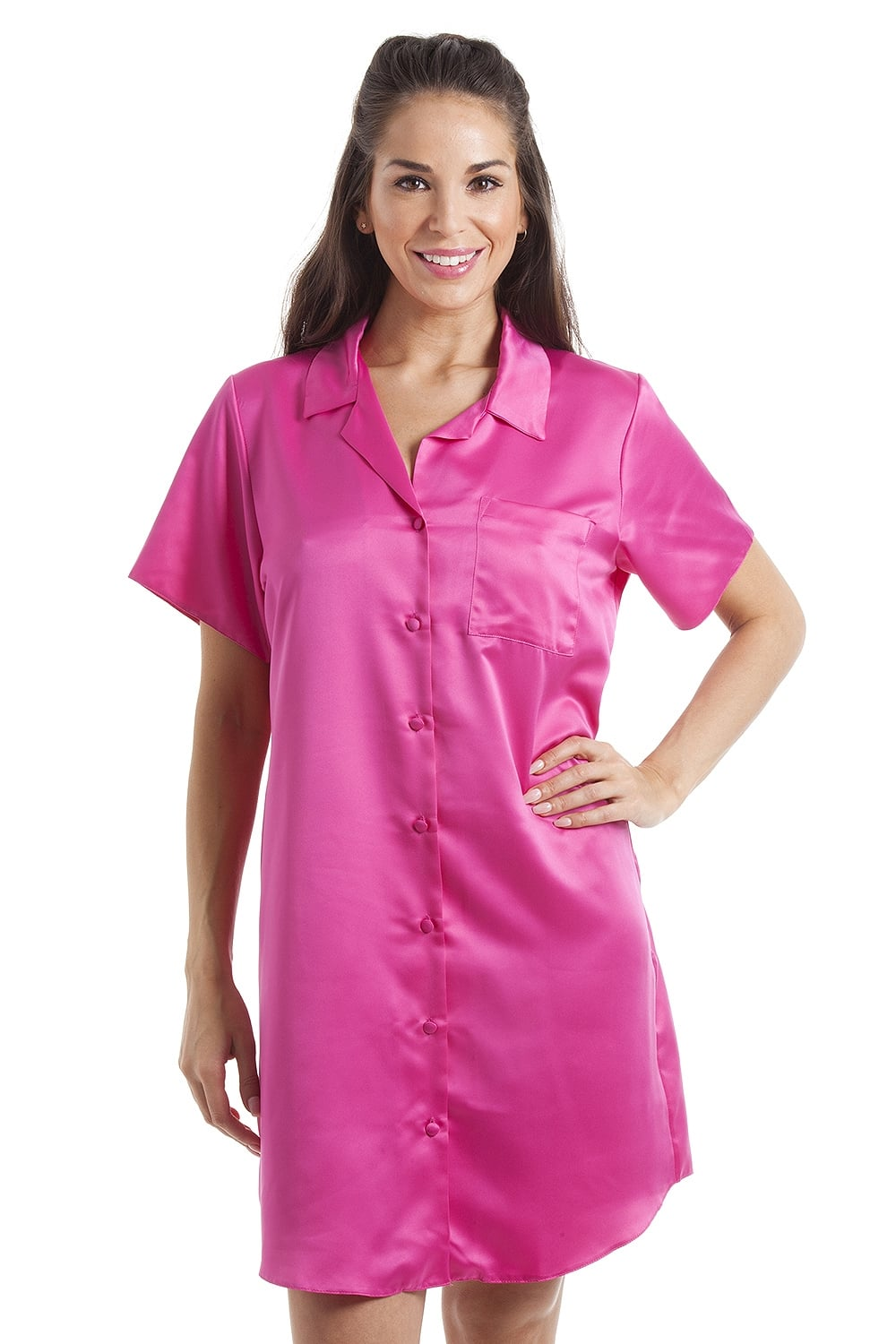 34016c4735 Camille Luxurious Knee Length Pink Satin Nightshirt