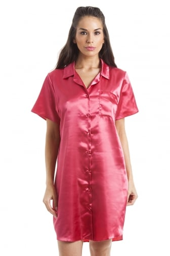 Luxurious Knee Length Red Satin Nightshirt