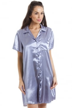 Luxurious Knee Length Silver Satin Nightshirt
