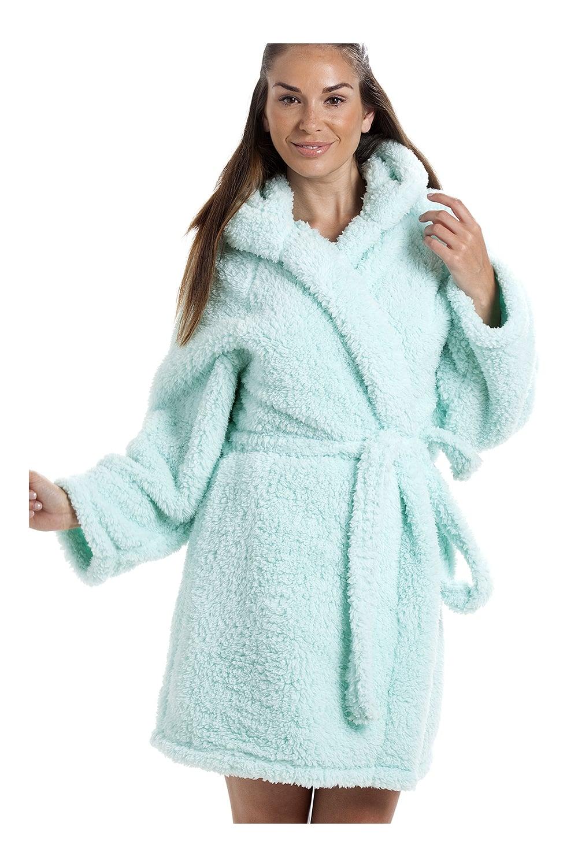 Luxurious Lightweight Soft Fluffy Fleece Mint Hooded Dressing gown
