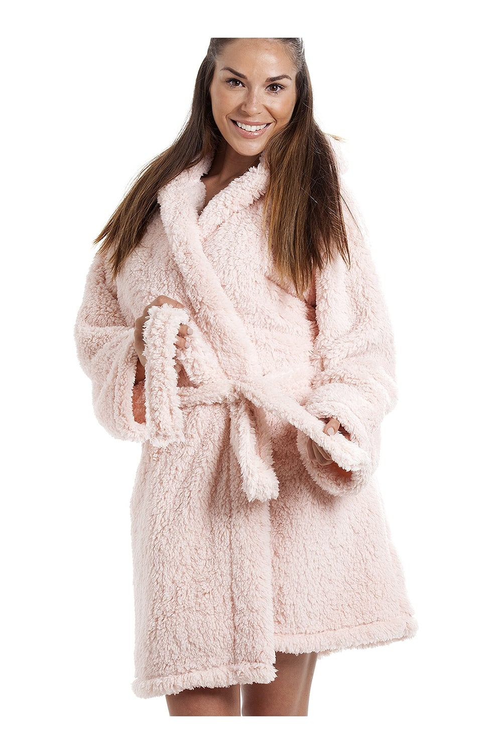 Camille Luxurious Lightweight Soft Fluffy Fleece Pink Hooded Dressing Gown 796c50555