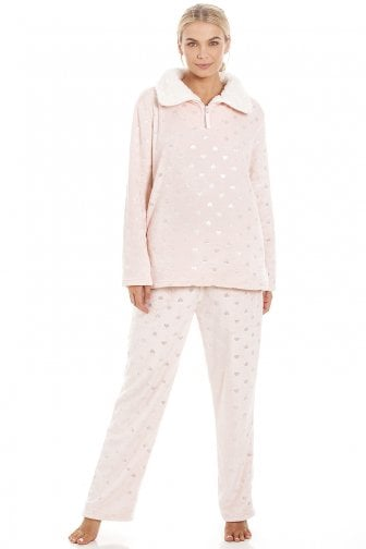 Luxurious Pink Supersoft Fleece High Neck Silver Heart Pyjama Set a0763a19b