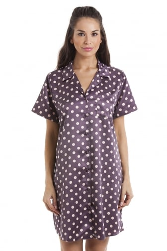 Luxurious Purple with Pink Polka Dots Knee Length Satin Nightshirt