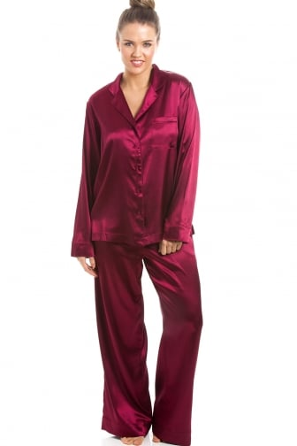 662c27b40b Luxurious Ruby Red Full Length Satin Pyjama Set. Camille ...
