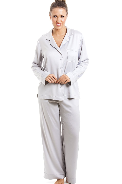 Camille Luxurious Silver Full Length Satin Pyjama Set c996294b8