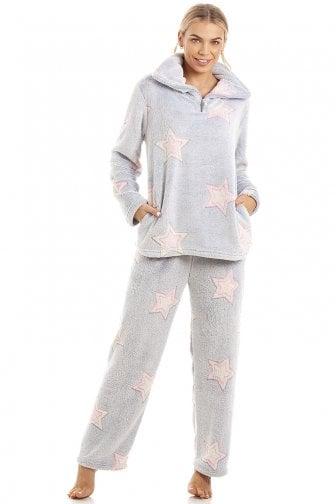 8da5ae7854e5 Luxurious Supersoft Fleece Light Grey Star Print Pyjama Set