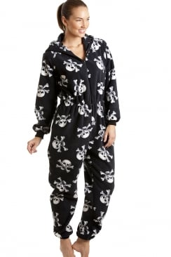 Luxury All In One Black And White Skull Print Hooded Fleece Onesie