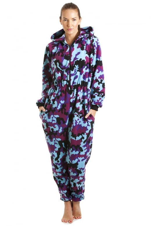 Luxury All In One Fuchsia And Aqua Abstract Hooded Fleece Onesie