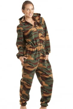 Luxury All In One Green Camouflage Print Hooded Fleece Onesie