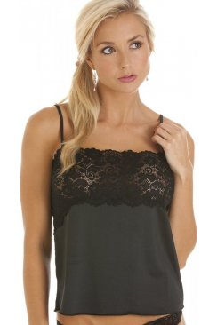 Luxury Black Camisole Lace Trim Top