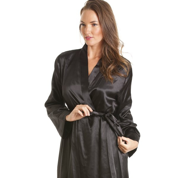 Black Satin Robe - A sexy short dressing gown in black satin with tie belt. A simple but classic design which is always popular. Item comes packaged in a DKaren desire-date.tk from super soft satin, this wr.