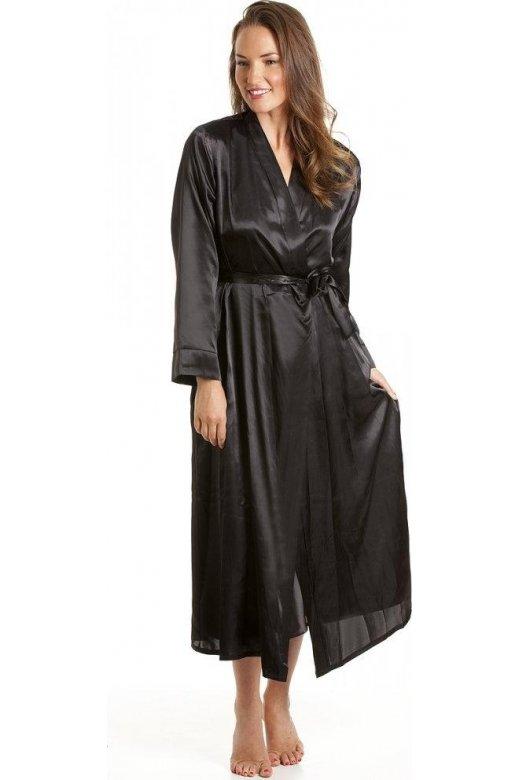 womens ladies luxury black satin bath robe wrap sizes 10 24