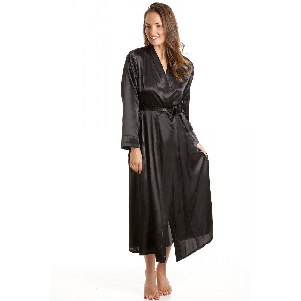 Robe: Womens Ladies Luxury Black Satin Bath Robe Wrap Sizes 10-24