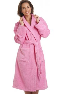 Luxury Bright Pink 100% Cotton Towelling Bath Robe