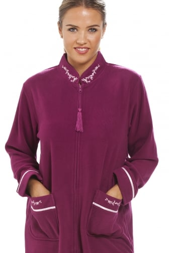 Luxury Burgundy Zip Up Housecoat Bath Robe