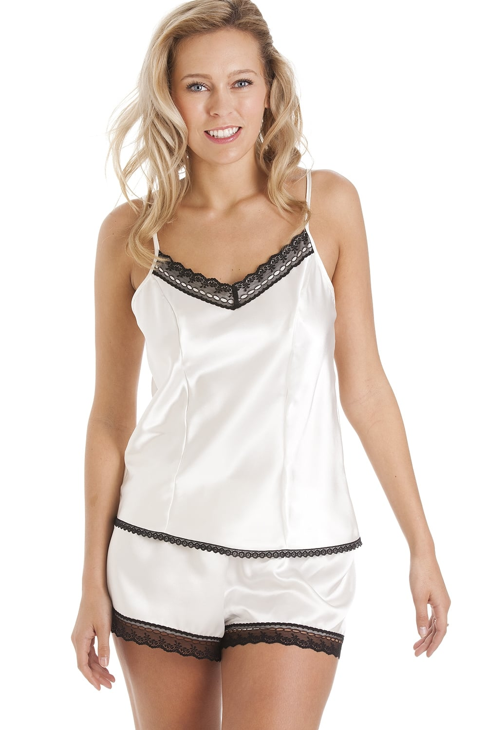 Luxury White Satin Cami Set
