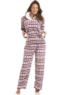 Luxury Fairisle Print Hooded Burgundy Pyjamas