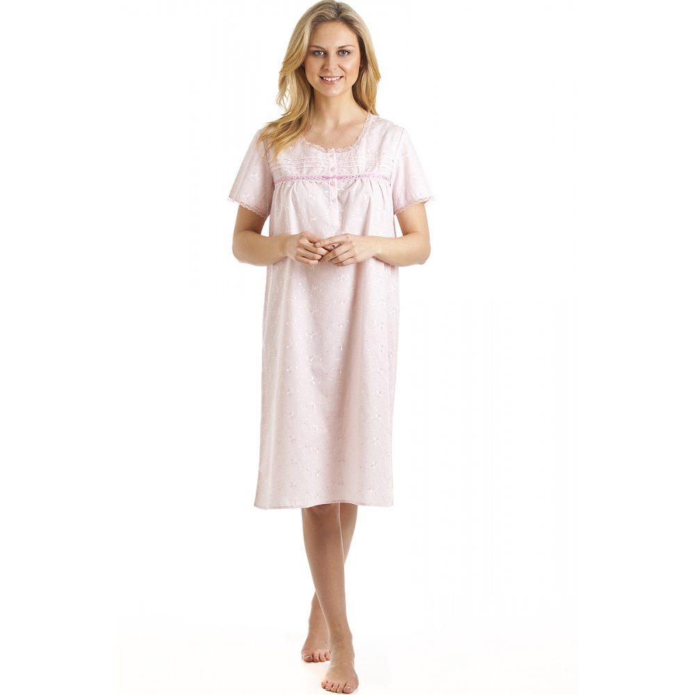 Luxury floral embroidered pink nightdress