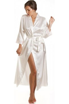 Luxury Full Length Ivory Satin Wrap