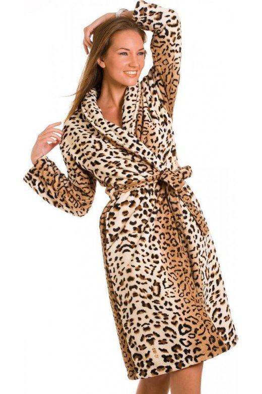 Luxury Gold Leopard Fleece Dressing Gown