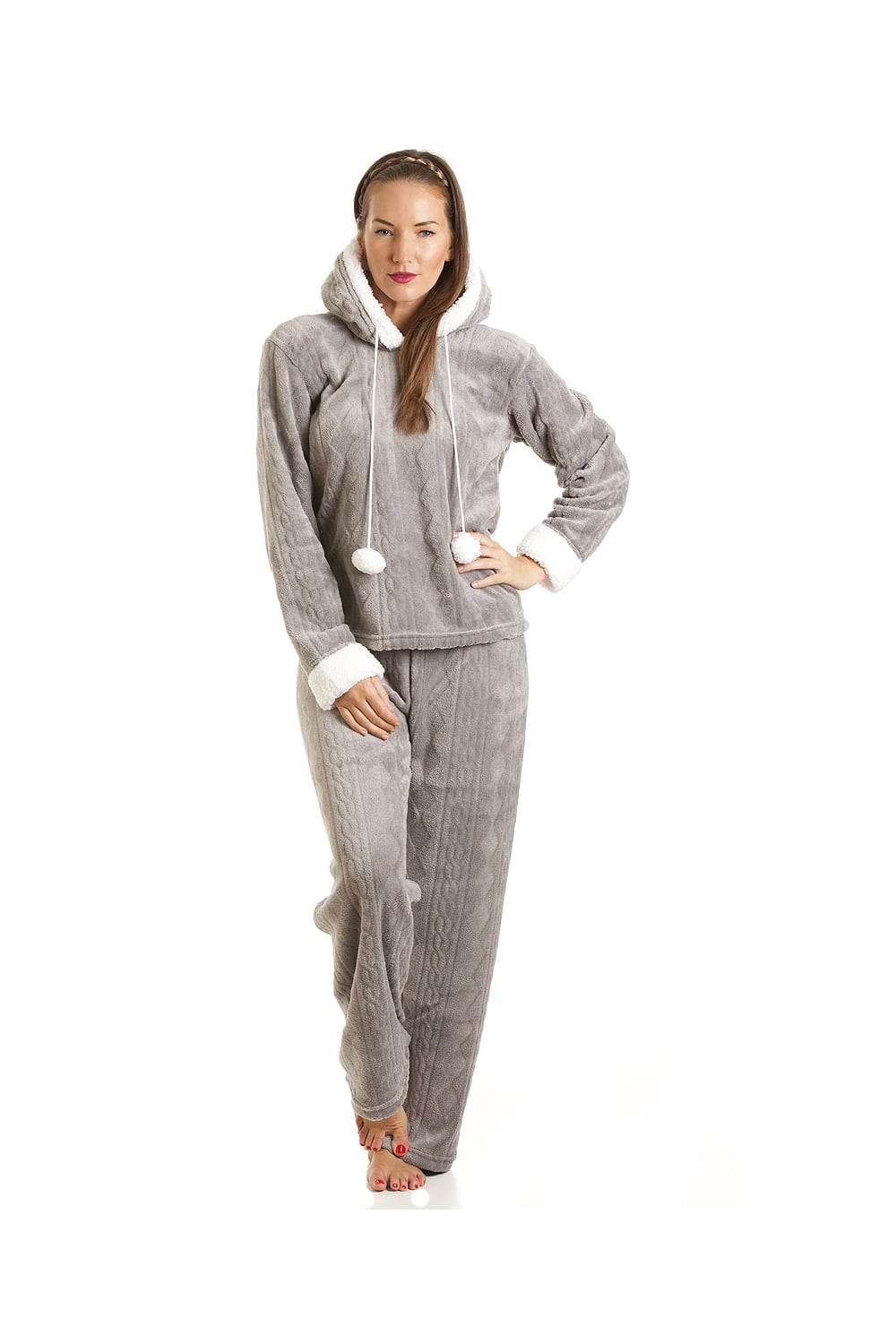 womens ladies luxury supersoft fleece hooded grey pyjama set size 10 20. Black Bedroom Furniture Sets. Home Design Ideas