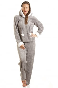 Luxury Grey Supersoft Fleece Hooded Pyjama Set
