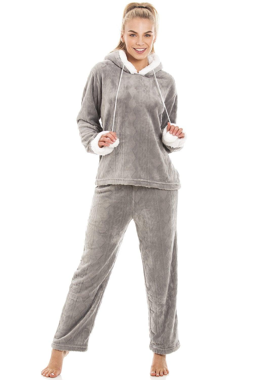 low cost 100% high quality buy sale Luxury Grey Supersoft Fleece Hooded Pyjama Set