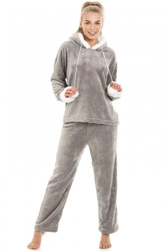 Luxury Grey Supersoft Fleece Hooded Pyjama Set cfa92c390