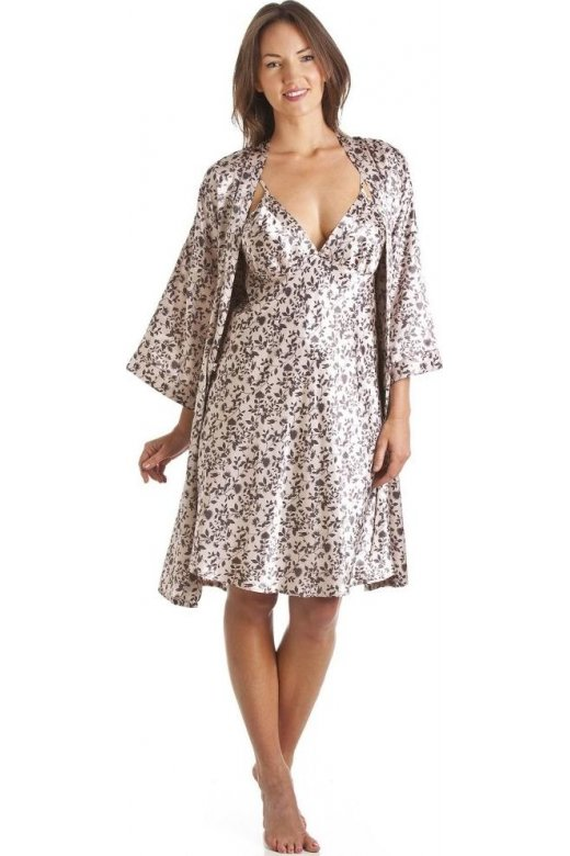 Camille Luxury Kimono Style Brown Floral Print Chemise And Wrap Set