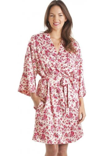 Luxury Kimono Style Pink Floral Print Chemise And Wrap Set