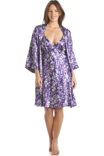 Luxury Kimono Style Purple Floral Print Chemise And Wrap Set