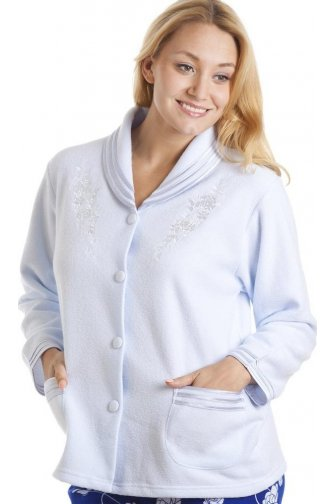 Luxury Light Blue Button Up Bed Jacket