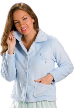 Luxury Light Blue Button Up Soft Fleece Bed Jacket