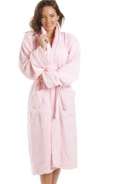 Luxury Light Pink 100% Cotton Towelling Bath Robe