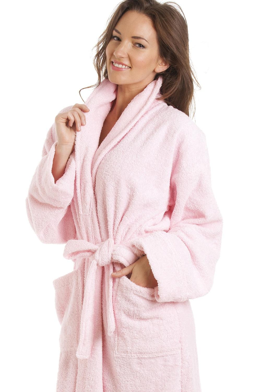 Luxury Light Pink 100% Cotton Towelling Bath Robe