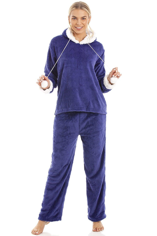 6d372828f426 Luxury Navy Blue Supersoft Fleece Hooded Pyjama Set