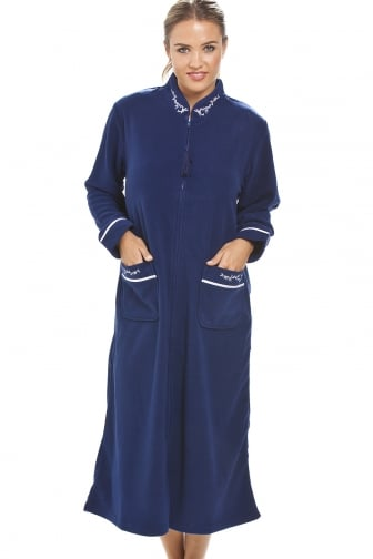 Luxury Navy Blue Zip Up Housecoat Bath Robe