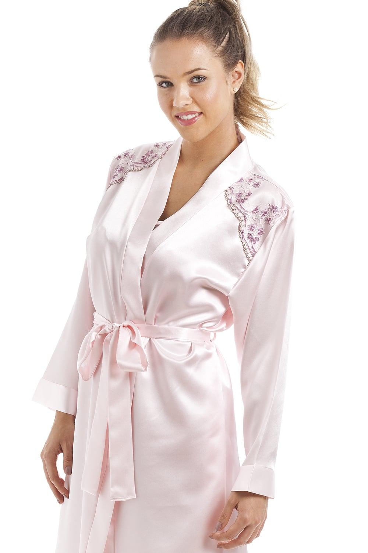 Luxury Pink Satin Chemise And Wrap Set