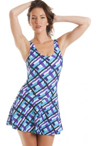 Luxury Purple And Turquoise Check Print Skirted Swimsuit