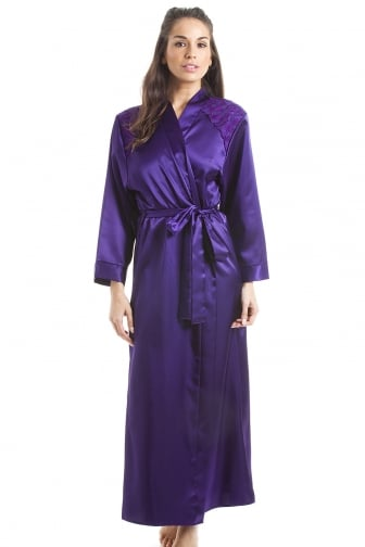 Luxury Purple Satin Long Length Dressing Gown Wrap