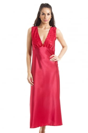 Luxury Red Lace Satin Chemise