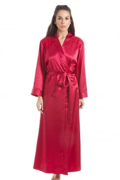 Luxury Red Satin Long Length Dressing Gown Wrap