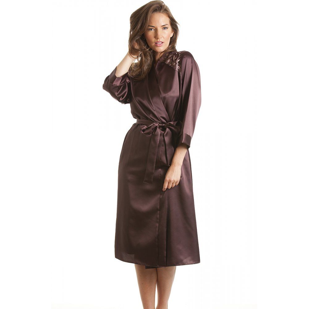 Silk Gowns For Women: Womens Ladies Luxury Satin Chocolate Bath Robe Wrap Sizes