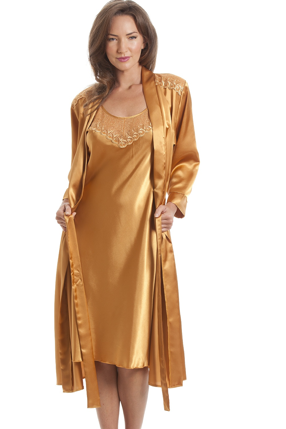 f7db893414 Camille Luxury Satin Gold Wrap And Chemise Set