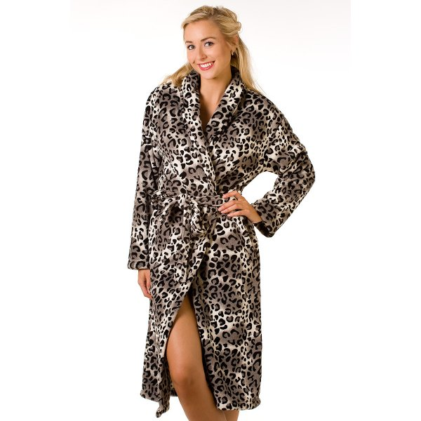 Luxury Snow Leopard Fleece Dressing Gown