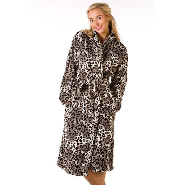 Luxury Snow Leopard Fleece Dressing Gown