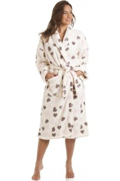 Luxury Supersoft Fleece Heart Print Bath Robe