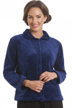 Luxury Supersoft Navy Blue Button Up Fleece Bed Jacket